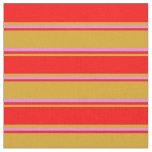 [ Thumbnail: Goldenrod, Red & Violet Colored Stripes Pattern Fabric ]