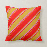 [ Thumbnail: Goldenrod, Red & Violet Colored Stripes Pattern Throw Pillow ]