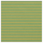 [ Thumbnail: Goldenrod & Sea Green Colored Stripes Pattern Fabric ]