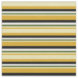 [ Thumbnail: Goldenrod, Tan, Dark Olive Green, White & Black Fabric ]