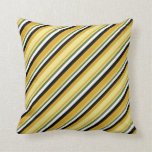 [ Thumbnail: Goldenrod, Tan, Dark Olive Green, White & Black Throw Pillow ]
