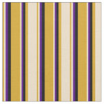 [ Thumbnail: Goldenrod, Tan, Indigo, and Black Lines Fabric ]