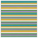 [ Thumbnail: Goldenrod, Teal, Violet, Dark Green, and White Fabric ]