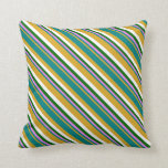 [ Thumbnail: Goldenrod, Teal, Violet, Dark Green, and White Throw Pillow ]