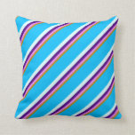 [ Thumbnail: Goldenrod, Violet, Indigo, Light Cyan & Sky Blue Throw Pillow ]