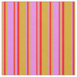 [ Thumbnail: Goldenrod, Violet & Red Lines/Stripes Pattern Fabric ]