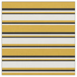 [ Thumbnail: Goldenrod, White, and Black Colored Lines Fabric ]