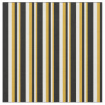 [ Thumbnail: Goldenrod, White & Black Colored Striped Pattern Fabric ]