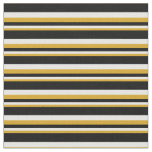 [ Thumbnail: Goldenrod, White & Black Lined Pattern Fabric ]