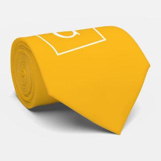 Goldenrod White Framed Initial Monogram Neck Tie