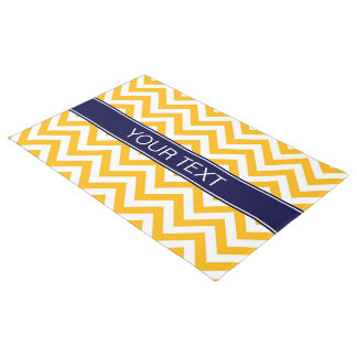 Goldenrod White LG Chevron Navy Blue Name Monogram Doormat