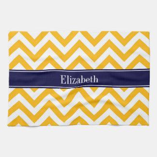 Goldenrod White LG Chevron Navy Blue Name Monogram Kitchen Towel
