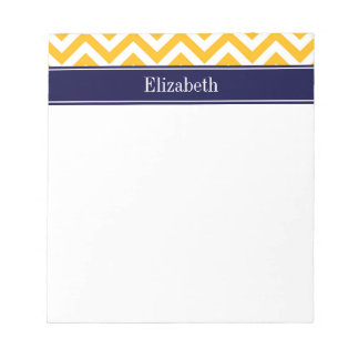 Goldenrod White LG Chevron Navy Blue Name Monogram Notepad
