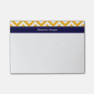 Goldenrod White LG Chevron Navy Blue Name Monogram Post-it® Notes