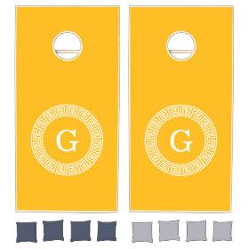 Goldenrod Wht Greek Key Rnd Frame Initial Monogram Cornhole Sets