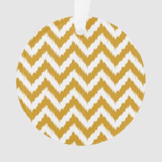 Goldenrod Yellow Chevron Ikat Pattern Ornament