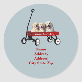 Goldens In Wagon Address Label Stickers