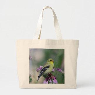 Goldfinch americano en el jardín bolsa de tela grande