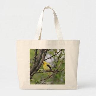 Goldfinch americano encaramado en un árbol bolsa de tela grande