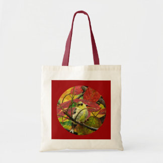 Goldfinch and Autumn Leaves Budget Tote Bag