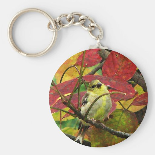 Goldfinch and Autumn Leaves Key Chains