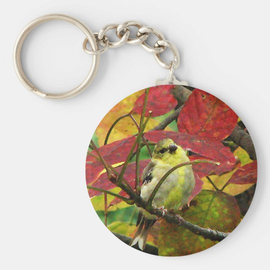 Goldfinch and Autumn Leaves Keychain