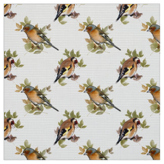 Goldfinch and Chaffinch on leaf. Fabric