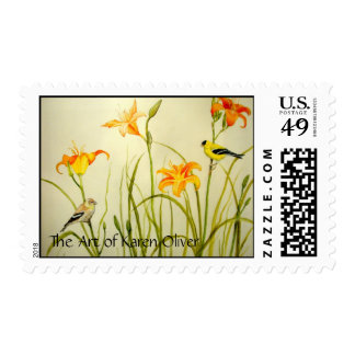 """Goldfinch and Daylillies"" Acrylic Painting Postage"