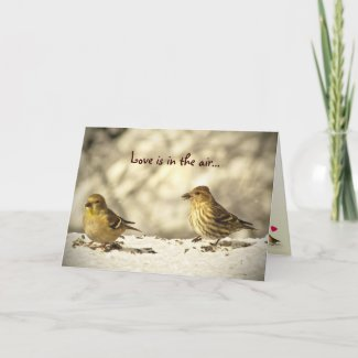 Goldfinch and Pine Siskin Valentines Day Cards