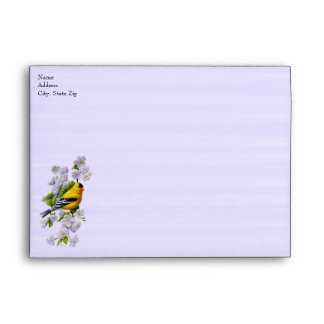 Goldfinch Bird and Apple Blossoms Purple Envelope