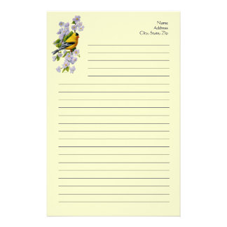 Goldfinch Bird & Apple Blossoms Yellow Stationery