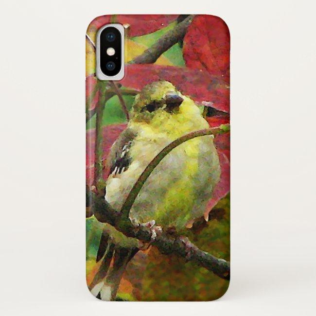 Goldfinch Bird in Autumn Foliage iPhone X Case