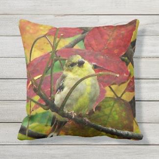 Goldfinch Bird in Autumn Outdoor Pillow