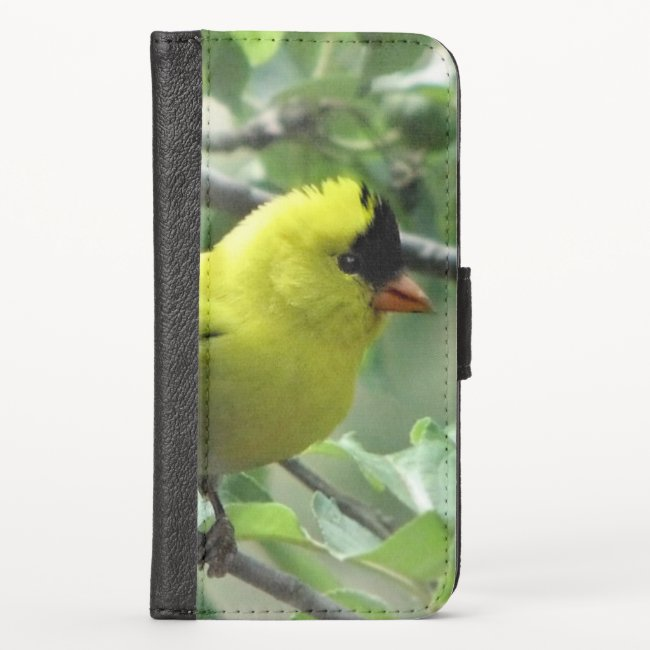 Goldfinch Bird iPhone X Wallet Case