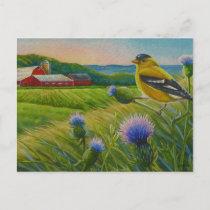 Goldfinch Bird Thistles Summer Farm Watercolor Art Postcard