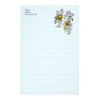 Goldfinch Birds and Flowers Blue Stationery