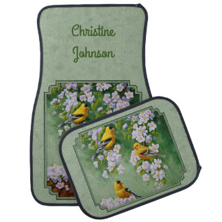 Goldfinch Birds and Flowers Green Car Mat