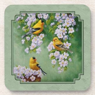 Goldfinch Birds and Flowers Green Drink Coaster