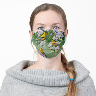 Goldfinch Birds & Apple Blossom Flowers Adult Cloth Face Mask