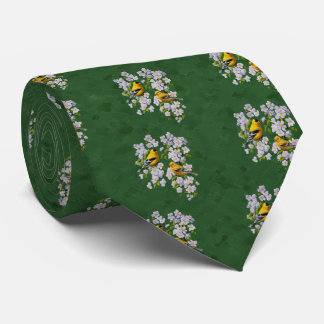 Goldfinch Birds & Apple Blossoms Green Tie