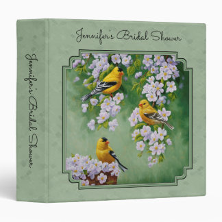 Goldfinch Birds & Apple Blossoms Yellow 3 Ring Binder