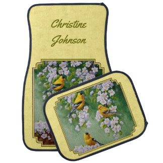 Goldfinch Birds & Apple Blossoms Yellow Car Mat