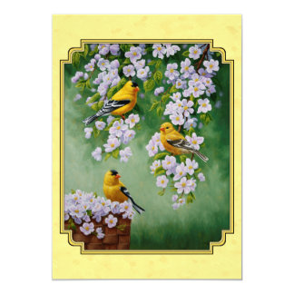 Goldfinch Birds & Apple Blossoms Yellow Card