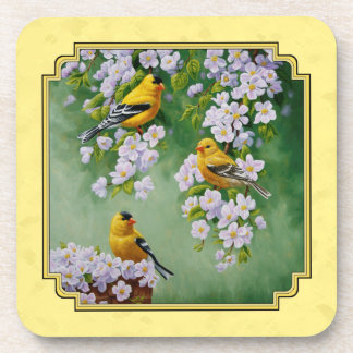 Goldfinch Birds & Apple Blossoms Yellow Drink Coaster