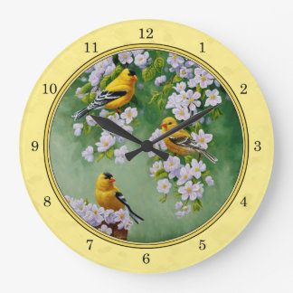 Goldfinch Birds & Apple Blossoms Yellow Large Clock