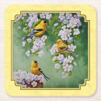 Goldfinch Birds & Apple Blossoms Yellow Square Paper Coaster