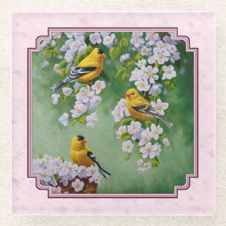 Goldfinch Birds & Flowers Pink Glass Coaster