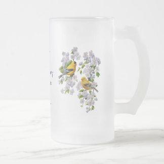 Goldfinch Birds & Flowers U-Pick Background Color Frosted Glass Beer Mug