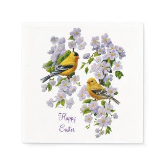Goldfinch Birds & Flowers U-Pick Background Color Napkin