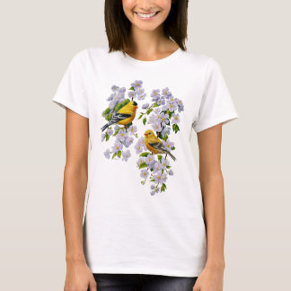 Goldfinch Birds & Flowers U-Pick Background Color T-Shirt
